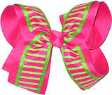 Shocking Pink and Neon Lime over Shocking Pink Large Double Layer Bow