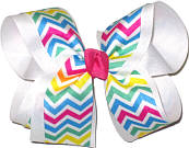 Pink Green Blue Yellow White over White Large Double Layer Bow