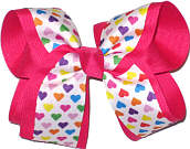 Multicolor Hearts on White over Shocking Pink Large Double Layer Bow