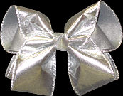 Wide Silver Lame' over Gray Grosgrain $12.95 Large Double Layer Bow