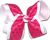 Glitter Hearts on Shocking Pink over White Large Double Layer Bow