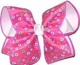Multicolor Bubbles on Hot Pink over White Large Double Layer Bow