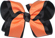 Burnt Orange and Black Large Double Layer Bow