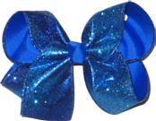 Electric Blue Heavy Glitter over Electric Blue Large Double Layer Bow