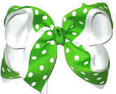 Apple Green and White Large Double Layer Bow
