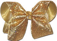Gold Heavy Glitter over Gold Large Double Layer Bow