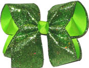 Green Heavy Glitter over Apple Green Large Double Layer Bow
