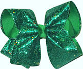 Emerald Heavy Glitter over Emerald Large Double Layer Bow