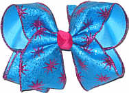 Shocking Pink Starburst Glitter over Mystic Blue Large Double Layer Bow