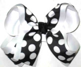 White and Black Large Double Layer Bow