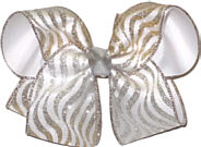 Silver and Gold Glitter Wave Chiffon over White Large Double Layer Bow