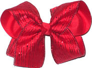 Red Glitter Pin Stripe on Red Chiffon over Red Large Double Layer Bow