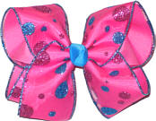 Blue and Pink Glitter Dots over Hot Pink Large Double Layer Bow