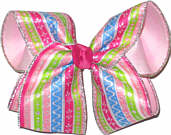 Multicolor Pastel Stripes with Glitter Accents over Light Pink Large Double Layer Bow
