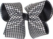 Black and White Houndstooth over Black Large Double Layer Bow