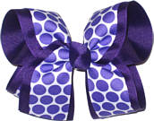 White with Purple Dots over Purple Large Double Layer Bow