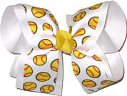 Yellow Softball on White over White Large Double Layer Bow