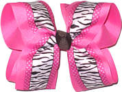 Black and White Zebra over Hot Pink Large Double Layer Bow