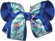 Peacock Print over Century Blue Large Double Layer Bow