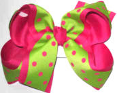Green with Shocking Pink Dots over Shocking Pink Large Double Layer Bow