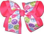 Pastel Peace Sign over Tutti Fruiti Large Double Layer Bow