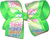 Rainbow Pastel Peace Sign over Neon Green Large Double Layer Bow