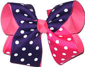 Shocking Pink and Regal Purple over Hot Pink Large Double Layer Bow