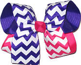 Purple and White and Hot Pink and White Large Double Layer Bow