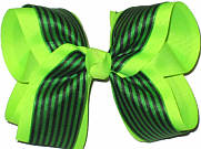 Neon Lime and Black Large Double Layer Bow
