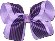 Light Orchid and Black Large Double Layer Bow