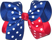 Century Blue with White Dots and red with White Dots Large Double Layer Bow