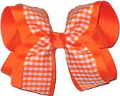 Orange and White over Orange Large Double Layer Bow