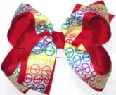 Rainbow Peace Sign over Red Large Double Layer Bow