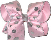 Silver Glitter Dot Chiffon over Light Pink Large Double Layer Bow
