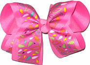 Multicolor Seeds on Hot Pink over Hot Pink Large Double Layer Bow