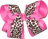 Cheeta over Hot Pink Large Double Layer Bow