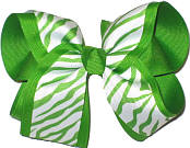 Apple Green and White Zebra over Apple Green Large Double Layer Bow