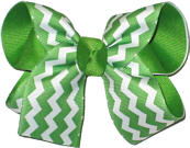 Apple Green and White Medium Double Layer Bow