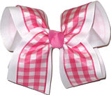 Pink and White over Pink Large Double Layer Bow
