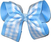 Millenium Blue and White over Millenium Blue Large Double Layer Bow