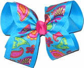 Multicolor Pasley Print on Mystic Blue over Mystic Blue Large Double Layer Bow