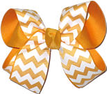 Yellow Gold and White Medium Double Layer Bow
