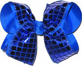 Electric Blue Square Sequin over Electric Blue Large Double Layer Bow