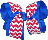 Electric Blue Red and White Large Double Layer Bow