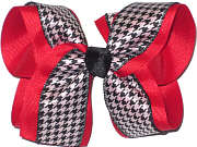 Black and White Houndstooth over Red Large Double Layer Bow