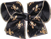 Large Black Chiffon with Metallic Gold Fleur de Lis and Gold Edging with Black Knot Double Layer Overlay Bow