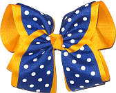 MEGA Century Blue with White Dots Over Yellow Gold School Bow