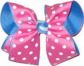 Hot Pink with White Dots over Blue Large Double Layer Bow