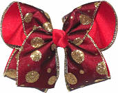 Gold Glitter Dot Red Black Chiffon over Red Large Double Layer Bow