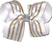 Silver Platinum and Gold Glitter Stripe Chiffon over White Large Double Layer Bow